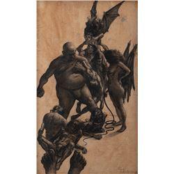 Fantasy creatures (9) concept sketches by David A. Constable.