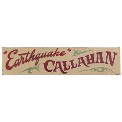 "Large banner for ""Earthquake Callahan"" from Bonanza, Episode: ""An Earthquake Called Callahan""."