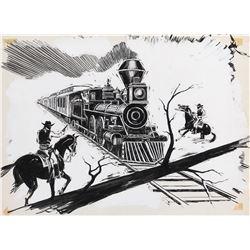 The Legend of Jesse James (series) original title artwork featuring a locomotive holdup.