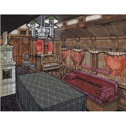 Wild Wild West traincar interior concept painting by W. C. Smith.