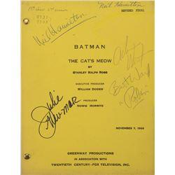 """Batman personal Neil Hamilton """"Commisioner Gordon"""" cast signed script for Episode: """"The Cat's Meow""""."""