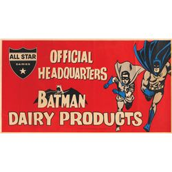 "Batman dairy poster featuring ""Batman"" and ""Robin""."