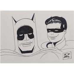 """Bob Kane drawing of """"Batman"""" and """"Robin""""."""