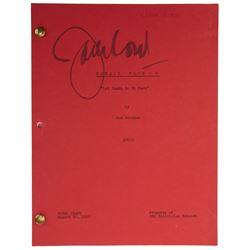 "Jack Lord ""Det. Steve McGarrett"" signed script for Hawaii Five-O, Season 9, Episode 9."