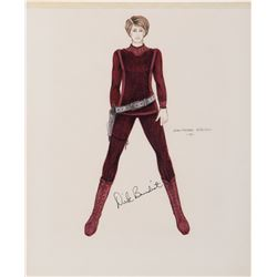 "Dirk Benedict ""Starbuck"" signed costume sketch by Jean-Pierre Dorleac for Battlestar Galactica."