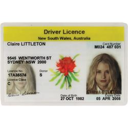 "Emilie de Ravin ""Claire"" Australian driver's license and medical records stickers from Lost."