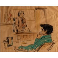 Sirhan Sirhan trial courtroom sketch of the assassin and his mother by Gene Widhoff.