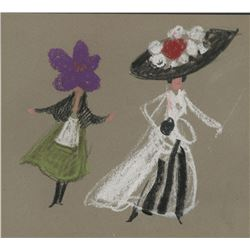 My Fair Lady pastel title-sequence sketch attributed to Wayne Fitzgerald.