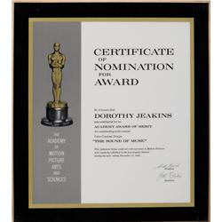 "Dorothy Jeakins ""Best Costume Design"" Oscar nomination plaque for The Sound of Music."