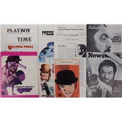 Stanley Kubrick press material archive for A Clockwork Orange including vintage t-shirt graphic.