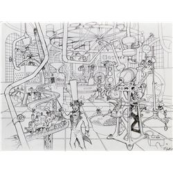 Harper Goff concept drawing of the Factory interior from Willy Wonka and the Chocolate Factory.