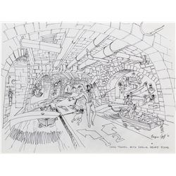 Harper Goff original concept drawing of the Long Tunnel for Willy Wonka and the Chocolate Factory.