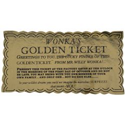 Asst Director Wolfgang Glattes' screen used Golden Ticket from Willy Wonka & the Chocolate Factory.