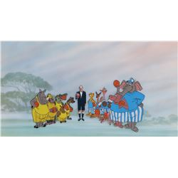 """The """"Naboombu Soccer Team"""" publicity cel on pan production background from Bedknobs and Broomsticks."""