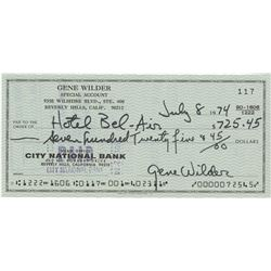 Gene Wilder signed check from 1974, during production of Young Frankestein.