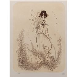 """Al Hirschfeld """"Charles Chaplin"""" signed and numbered limited edition etching."""