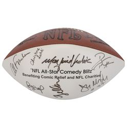 Robert Zmuda NFL All-Star Comedy Blitz football signed by multiple comics and athletes.