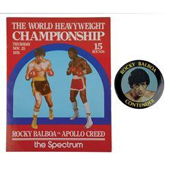 """Rocky Balboa vs Apollo Creed"" prop fight program and ""Rocky Balboa Contender"" button from Rocky II."
