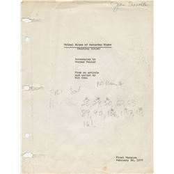 "John Travolta ""Tony Manero"" personal annotated shooting script for Saturday Night Fever."