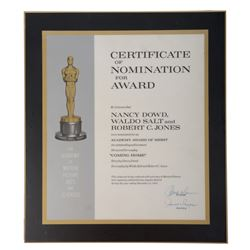 Oscar nomination plaque - Best Screenplay - Nancy Dowd, Waldo Salt & Robert C. Jones for Coming Home