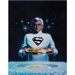 Cinefantastique cover art of Superman director Richard Donner by Roger Stine.