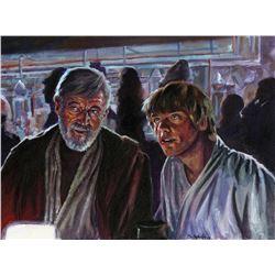 "Star Wars Alec Guinness ""Obi-Wan Kenobi"" and Mark Hamill ""Luke Skywalker"" painting by Scott Sava."
