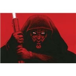 "Greg Hildebrandt ""Darth Maul"" red board artwork."
