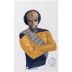 """Michael Dorn """"Worf"""" costume sketch by Durinda Wood with new sash re-design for Star Trek: TNG."""