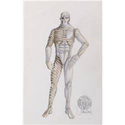"""""""Male Borg"""" costume sketch by Durinda Wood for Star Trek: The Next Generation Episode: """"Q Who""""."""