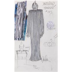 "Mick Fleetwood as an ""Antedian"" working costume sketch by Durinda Wood for Star Trek: TNG."