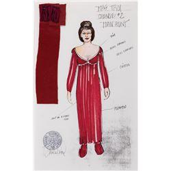 "Majel Barrett ""Lwaxana Troi"" (3) original working costume sketches by Durinda Wood for Star Trek TNG"