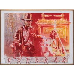 Raiders of the Lost Ark final artwork for the cover of 1982 Atari video game box by James Kelly.