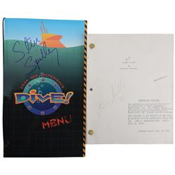 """Steven Spielberg """"Dive"""" menu & signed Shooting script from E.T. the Extra-Terrestrial."""