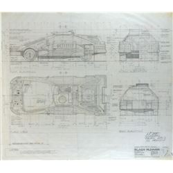 """Blade Runner pencil drafting sketch and brownline of the """"Deckard's Vehicle""""."""