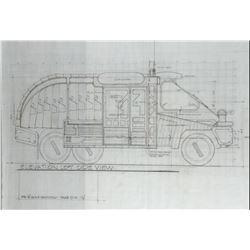 "Blade Runner (4) pencil drafting sketches & brownlines of ""Sebastian's Vehicle""."