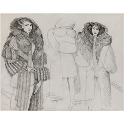 """Sean Young """"Rachael"""" Fur Brocade costume sketch by Charles Knode for Blade Runner."""