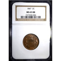 1867 TWO CENT PIECE NGC MS 65 RB