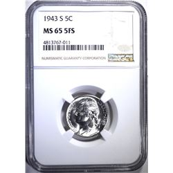 1943-S JEFFERSON NICKEL NGC MS-65 5FS
