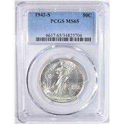 1942-S WALKING LIBERTY HALF DOLLAR, PCGS MS-65