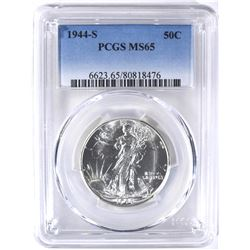 1944-S WALKING LIBERTY HALF PCGS MS-65