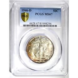 1946-D WALKING LIBERTY HALF DOLLAR, PCGS MS-67