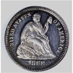1868 HALF DIME, SUPERB PROOF!