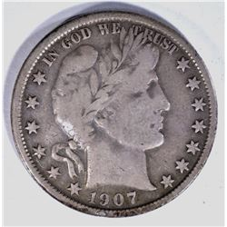 1907-O BARBER HALF DOLLAR VF