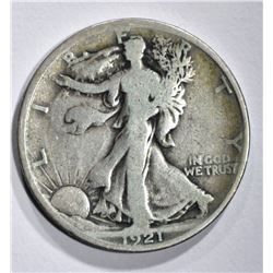 1921 WALKING LIBERTY HALF DOLLAR, VG
