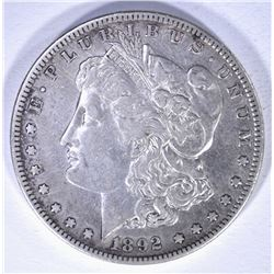 1892-S MORGAN DOLLAR, XF/AU cleaned