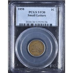 1858 SM LETTERS FLYING EAGLE CENT PCGS VF-30