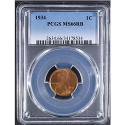 1934 LINCOLN CENT PCGS MS-66 RB