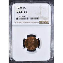 1930 LINCOLN CENT NGC MS-66 RB