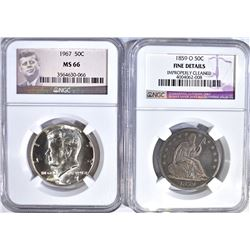 2 NGC GRADED COINS:  1967 KENNEDY
