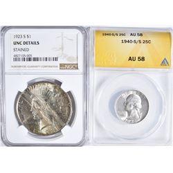 2 GRADED COINS:  1940-S/S WASHINGTON